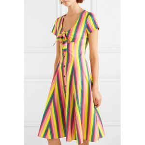 Staud Rainbow Tie-front Striped Poplin Dress